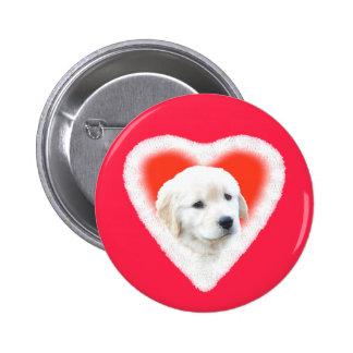 Golden Retriever Puppy Valentine Gifts 2 Inch Round Button