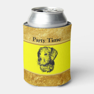 Golden retriever puppy with gold foil and yellow can cooler