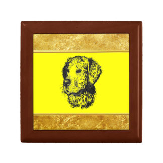 Golden retriever puppy with gold foil and yellow gift box