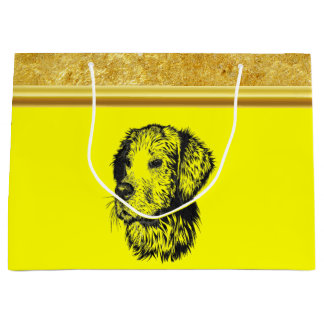 Golden retriever puppy with gold foil and yellow large gift bag