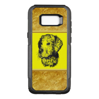 Golden retriever puppy with gold foil and yellow OtterBox commuter samsung galaxy s8+ case