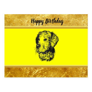 Golden retriever puppy with gold foil and yellow postcard