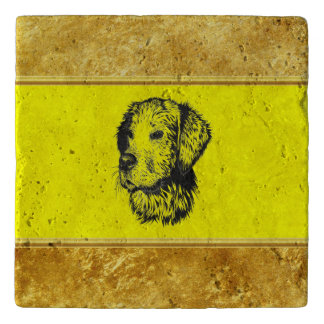 Golden retriever puppy with gold foil and yellow trivet