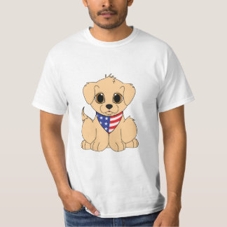 Golden Retriever Puppy with Patriotic Bandanna T-Shirt