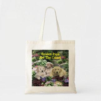 Golden Retriever Pups In Garden Tote Bag