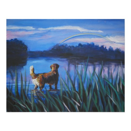 golden retriever rainbow bridge art print