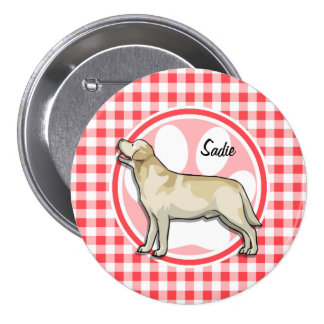 Golden Retriever; Red and White Gingham Pin