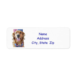 Golden Retriever Return Address Label,  July 4th