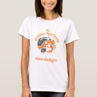 Golden Retriever Rides Shotgun Halloween T-Shirt