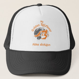 Golden Retriever Rides Shotgun Halloween Trucker Hat