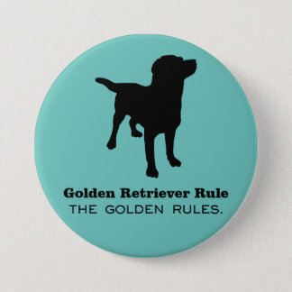 Golden Retriever Rule Round Button