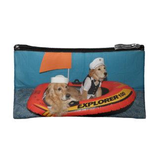 Golden Retriever Sailboat Captains Cosmetics Bags
