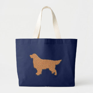 Golden Retriever Silhouette in Brown Large Tote Bag