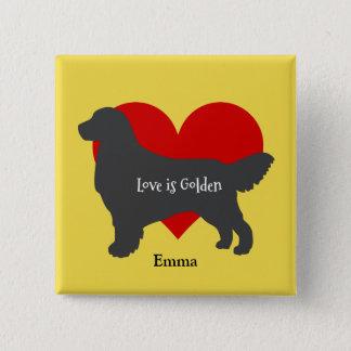 Golden Retriever Silhouette Love Is Golden 2 Inch Square Button