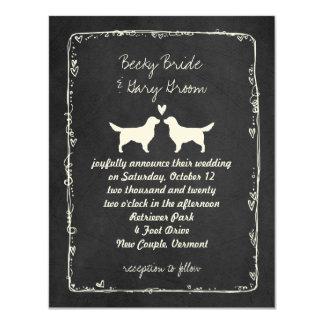 "Golden Retriever Silhouettes Wedding 4.25"" X 5.5"" Invitation Card"