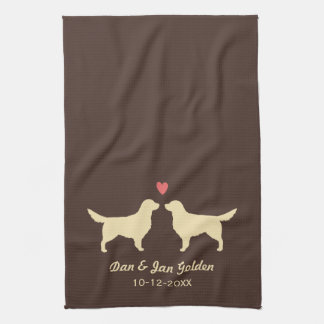 Golden Retriever Silhouettes with Heart and Text Kitchen Towel