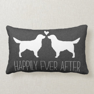 Golden Retriever Silhouettes with Heart and Text Lumbar Pillow