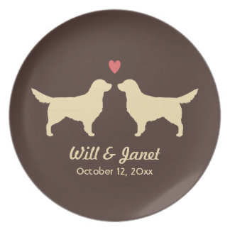 Golden Retriever Silhouettes with Heart and Text Plate