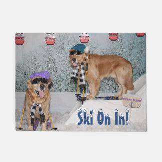Golden Retriever Skiers Ski On In Welcome Doormat