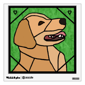 Golden Retriever Smile Stained-Glass Look Wall Decal