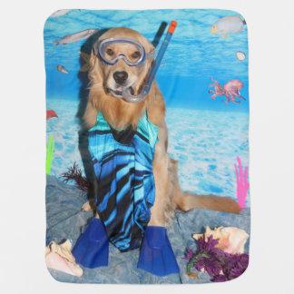 Golden Retriever Snorkeler Baby Blanket