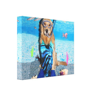 Golden Retriever Snorkeler Canvas Print