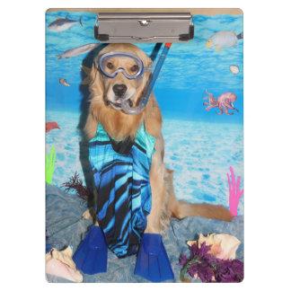 Golden Retriever Snorkeler Clipboard