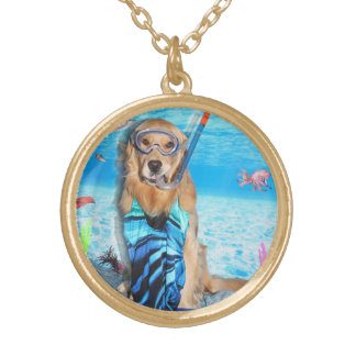 Golden Retriever Snorkeler Gold Plated Necklace