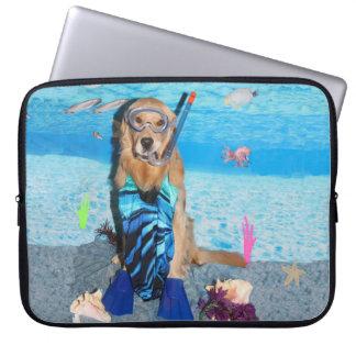 Golden Retriever Snorkeler Laptop Sleeve