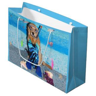 Golden Retriever Snorkeler Large Gift Bag