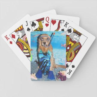 Golden Retriever Snorkeler Playing Cards