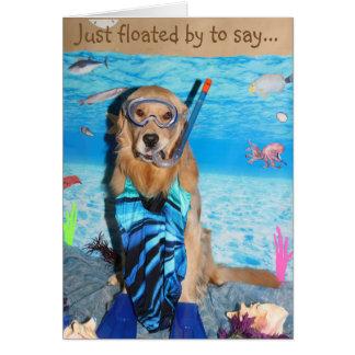 Golden Retriever Snorkeling Brithday Card