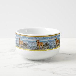 Golden Retriever standing on the blue ocean rocky Soup Mug