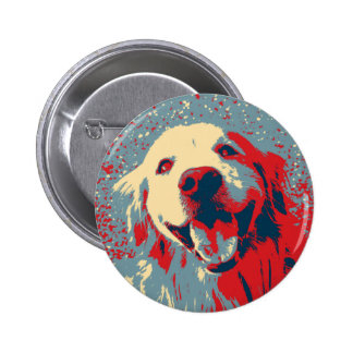 Golden Retriever Stylized Drawing 2 Inch Round Button