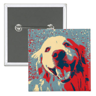 Golden Retriever Stylized Drawing 2 Inch Square Button
