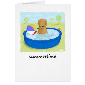 """Golden Retriever """"Summertime"""" Card"""