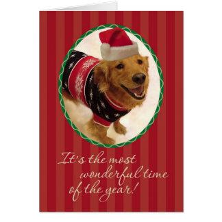 Golden Retriever- Tacky Christmas Sweater Greeting Card