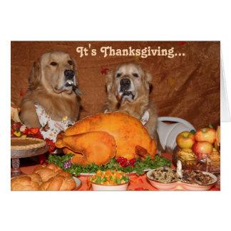 Golden Retriever Thanksgiving Feast Card