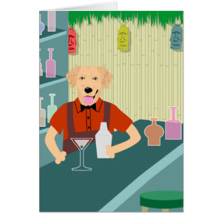 Golden Retriever Tiki Bar Card