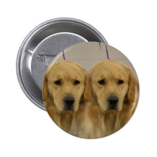 Golden Retriever Twins Round Pin