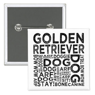 Golden Retriever Typography 2 Inch Square Button