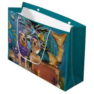 Golden Retriever Under the Sea Large Gift Bag