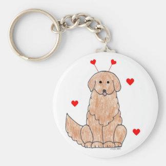 Golden Retriever Valentine Ears Keychain