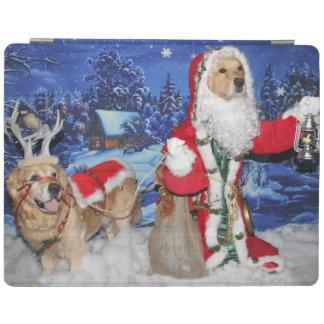 Golden Retriever Victorian Santa Christmas iPad Cover