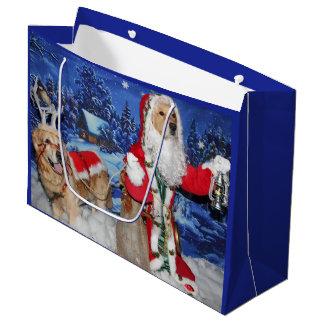 Golden Retriever Victorian Santa Christmas Large Gift Bag