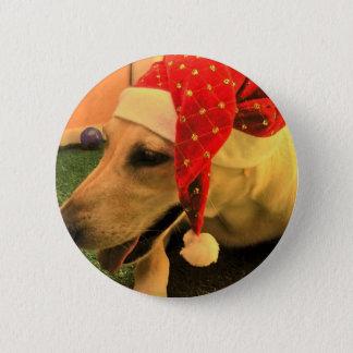 Golden Retriever Wearing Christmas Hat 2 Inch Round Button