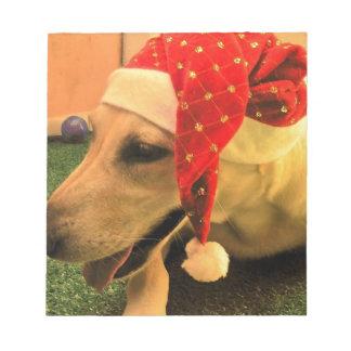 Golden Retriever Wearing Christmas Hat Notepad