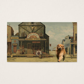 Golden Retriever Western Town Business Card