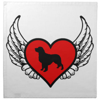 Golden Retriever Winged Heart Love Dogs Silhouette Cloth Napkin