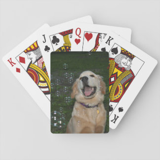 Golden Retriever with Bubbles Playing Cards